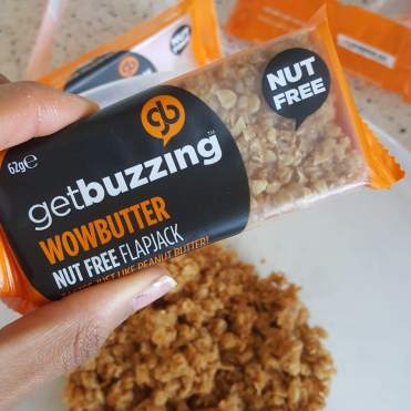 Crumble down the 'Wowbutter' bars and heat