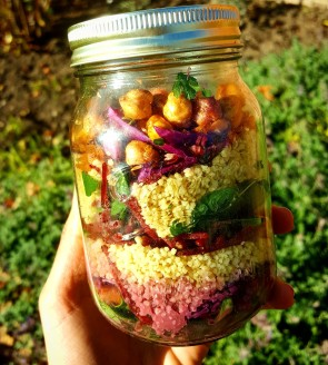 Layered spicy chickpea and bulgar wheat salad - perfect for a sunny day!