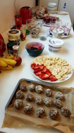 All the sweet stuff - homemade energy balls, fresh fruit and yoghurt