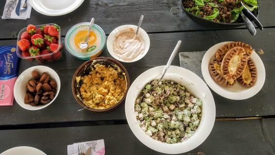 Traditional Finnish Karelian pies, and homemade salads