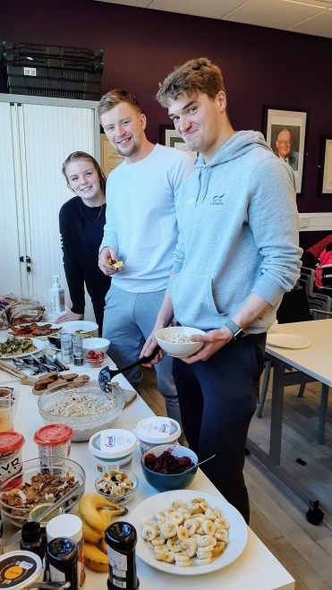 The re-launch of Breakfast Club - we're off to a flying start! L-R: Harriet West, Adam Peaty and James Wilby