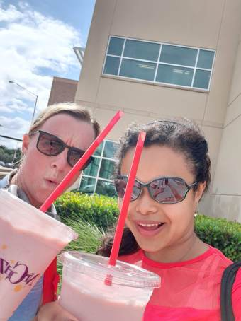 Me and Mel enjoying a tasty post-workout smoothie!